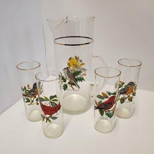 5 Piece Ice tea/water Pitcher set 4 glasses birds